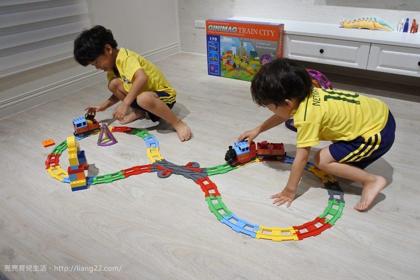 韓國GINIMAG磁性建構片城市火車主題版‧有聲光、軌道,還可以跟樂高積木一起玩,真的太好玩啦!!